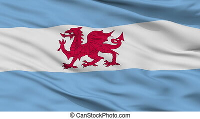 Closeup Welsh colony in Patagonia city flag, Argentina
