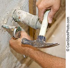 closeup, werken, loodgieterswerk