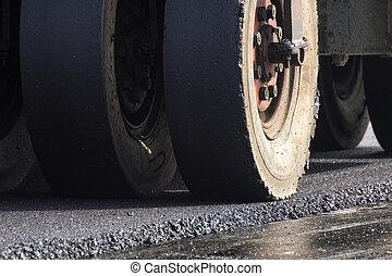 roller compactor - closeup wheel of roller compactor at ...