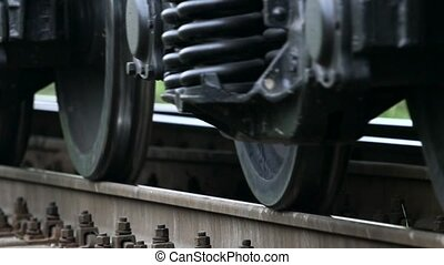Closeup wheelset freight train. Slow motion - Old, rusty...