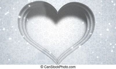 Closeup white hearts of love, wedding background