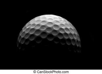 closeup, white labda, golf, fekete