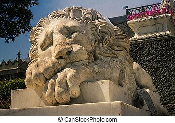 Closeup White Marble Lion Head Sculpture in Crimea Vorontsov Palace