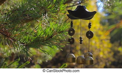 Closeup wind chimes swaying in the wind at autumn garden. Happiness, success