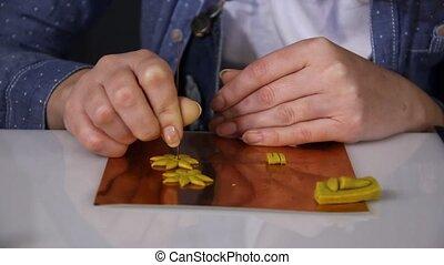 closeup woman artist hands