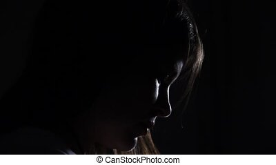 closeup woman face profile