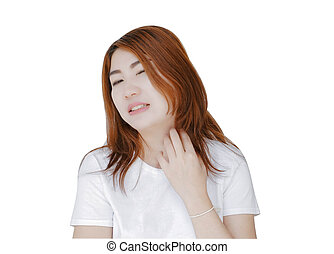Closeup woman hand holding neck with pain on white background