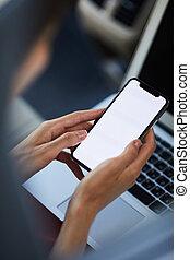 Closeup Woman Holding Smartphone