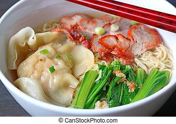 Closeup Wonton Dumpling with Roasted Pork and Egg Noodle Soup