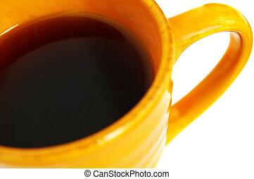 closeup, xícara café, branca