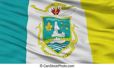 Closeup Yellowknife city flag, Canada - Yellowknife closeup...