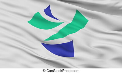 Closeup Yoshinogawa city flag, prefecture Tokushimapref,...