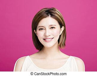 closeup young asian beauty face
