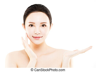 closeup young asian beauty face with showing gesture