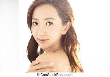 closeup young asian smiling woman face