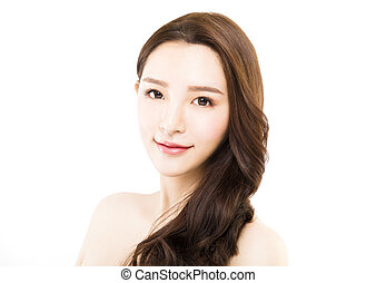 closeup young beautiful woman face on white background
