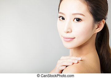 closeup young  beautiful woman face