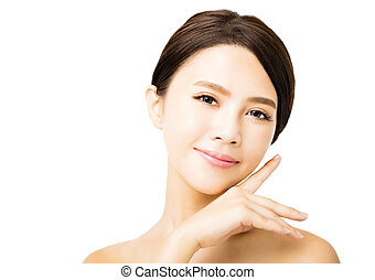 closeup young beauty woman face