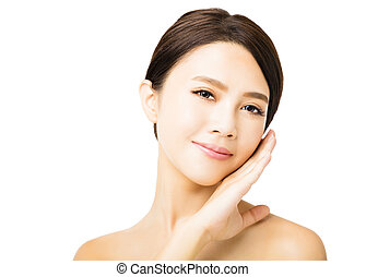closeup young beauty woman face