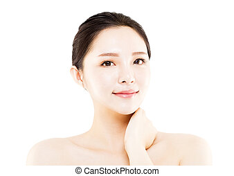 closeup young  woman face isolated on white