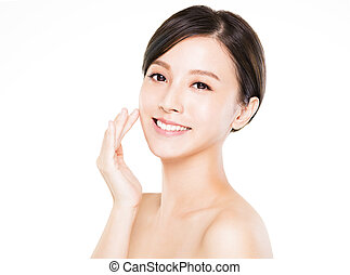 closeup   young  woman smiling face with clean  skin