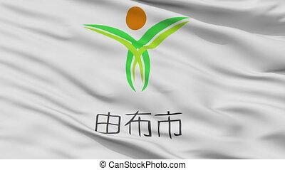 Closeup Yufu city flag, prefecture Oita, Japan - Yufu close...