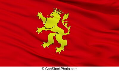 Closeup Zaragoza city flag, Spain - Zaragoza closeup flag,...