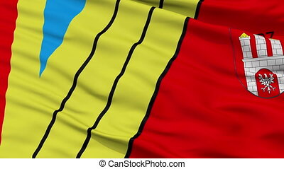 Closeup Zgierz city flag, Poland - Zgierz closeup flag, city...