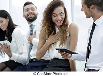 business colleagues with a tablet.