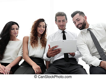 business colleagues with digital tablet.