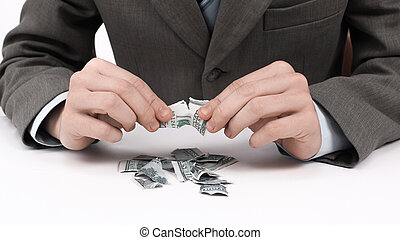 closeup.businessman, déchirure, dollar, note, asseyant, a, desk.