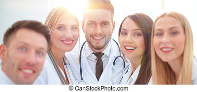 closeup.Portrait of a doctor and medical team
