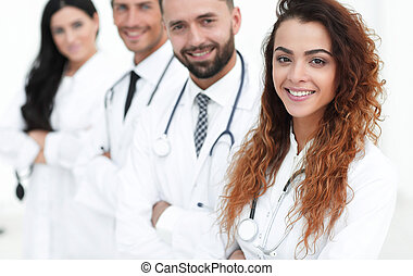 medical team on white background