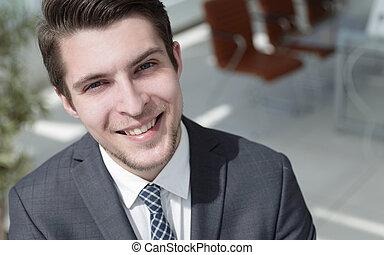 closeup.the, rosto, de, um, sucedido, homem jovem