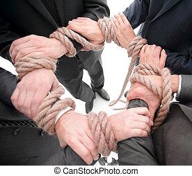 closeup.unified, rope., negócio, equipe, forte