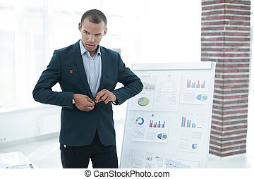 young businessman making presentation of a new financial project