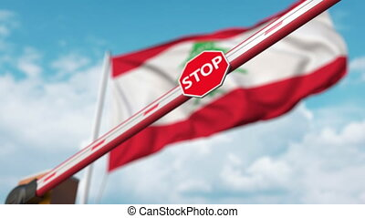 Closed boom gate on the flag background. Restricted entry or certain ban 3D