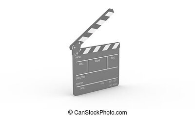 Closing clapboard - Opened clapboard isolated on a white...