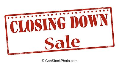Rubber stamp with text closing down sale inside, vector illustration