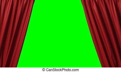 closing red curtain 3d animation