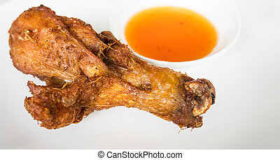 Closr - up fried chicken with spicy sauce