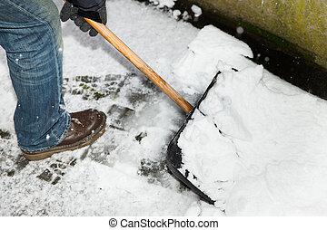man is snow shoveling a path
