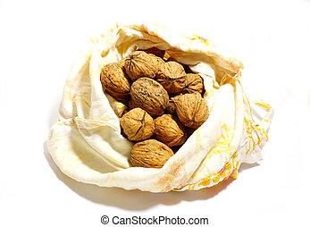 Cloth bag full of nuts