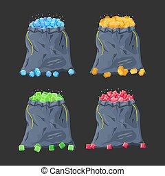 Cloth fabric money bag full of various diamonds.