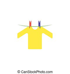 cloth hanging on rope vector icon illustration design
