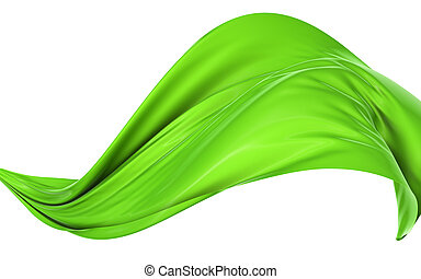 Cloth in the wind - Abstract green cloth on a white ...