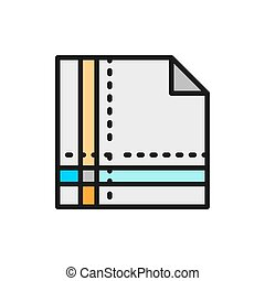 Cloth napkin folded in square flat color line icon.