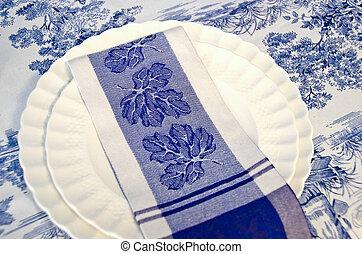 cloth napkin on dinner plate
