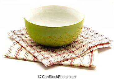 Cloth napkins and kitchen bowl