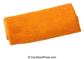 Orange micro fiber cleaning cloth. Close up. Isolation on white.